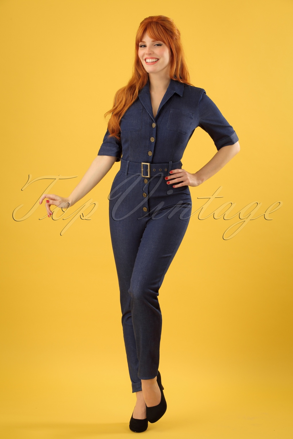 1950s Pants & Jeans- High Waist, Wide Leg, Capri, Pedal Pushers 50s Erin Denim Jumpsuit in Navy £79.11 AT vintagedancer.com