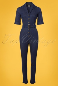 Collectif Clothing Erin Denim Jumpsuit in Navy 22554 20171121 0002w