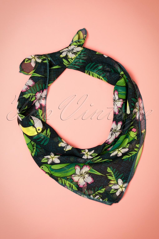 Collectif Clothing Tropical Bird Bandana W Full on Retro Hair Scarves