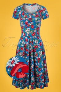 Blutsgeschwister Blue Floral Swing Dress 102 39 23471 20180412 0002wv