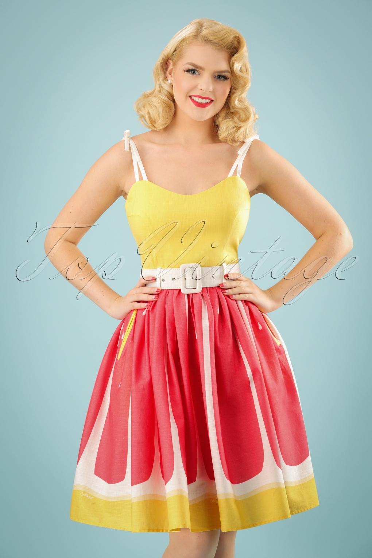 50s Jade Grapefruit Swing Dress in Yellow and Pink