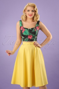 Collectif Clothing Matilde Plain Swing Skirt in Yellow 22808 20171123 0013w