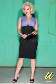 50s Rizzo Pencil Dress in Purple and Black