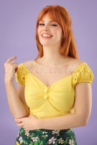50s Dolores Top Carmen in Pastel Yellow
