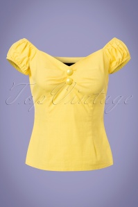 Collectif Clothing Dolores Vintage Plain Top in Yellow 228145 20171122 0002w