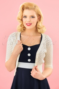Collectif Clothing 50s Linda Cardigan in Ivory