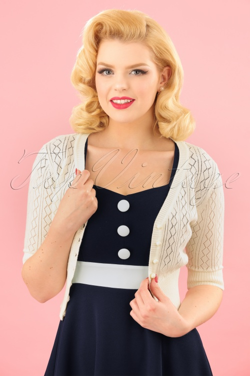 Collectif Clothing Linda Cardigan in Ivory 20636 20161130 00010W