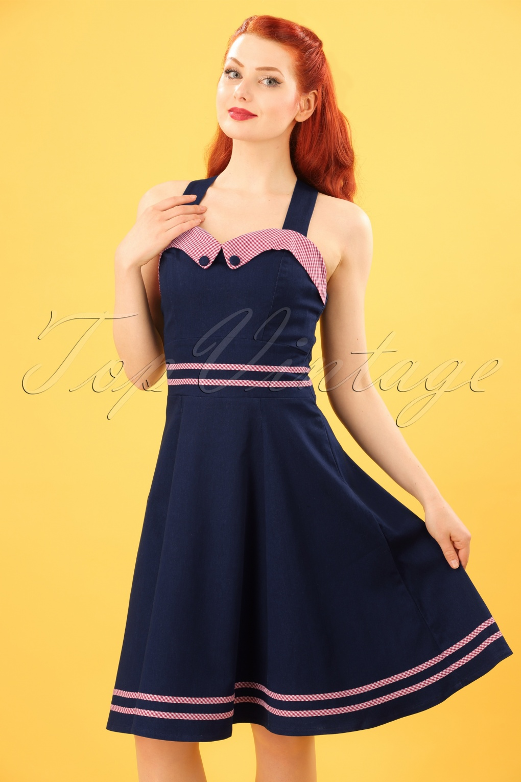 Pin Up Dresses | Pin Up Clothing 50s Jadore Halter Dress in Navy £52.57 AT vintagedancer.com