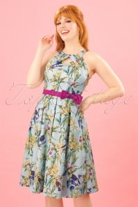 50s Cherel Tropical Swing Dress in Light Blue