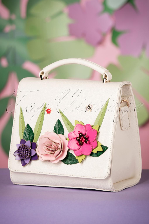 Vintage & Retro Handbags, Purses, Wallets, Bags 60s English Garden Box Bag in Off White £85.67 AT vintagedancer.com