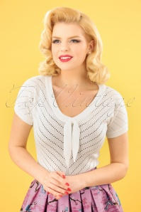 50s Patricia Pointelle Top in Off White