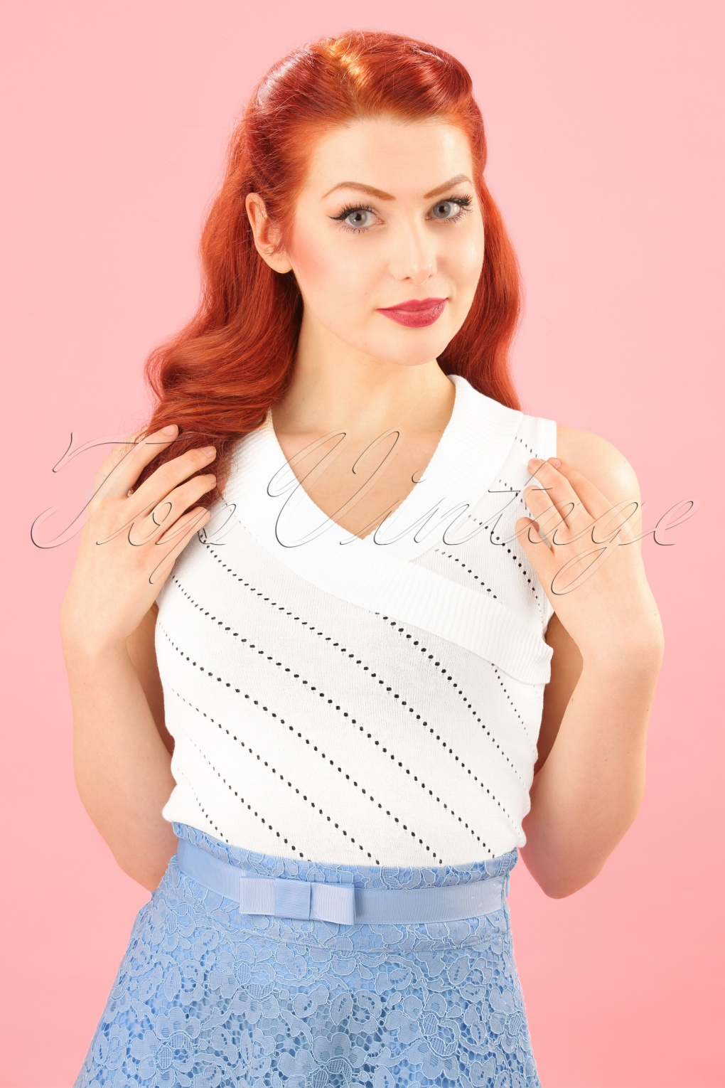 1950s Rockabilly & Pin Up Tops, Blouses, Shirts 50s Its A Wrap Knit Top in Off White £33.38 AT vintagedancer.com