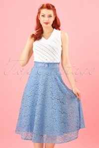 40s Love Lace Skirt in Lavender Blue