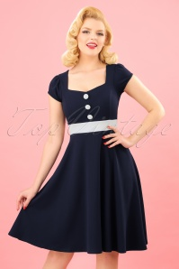 50s Rebecca Swing Dress in Navy