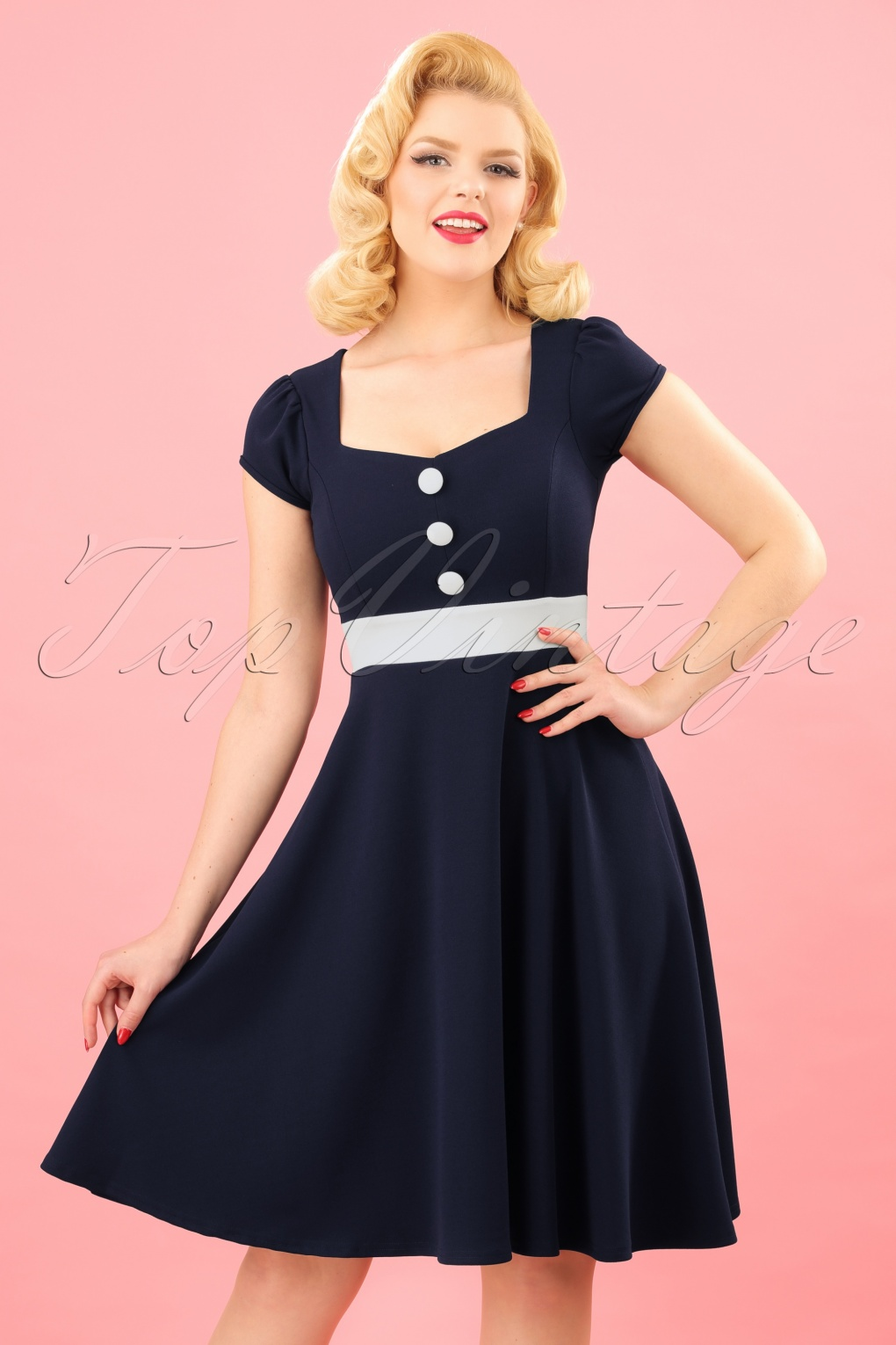 Pin Up Dresses | Pin Up Clothing 50s Rebecca Swing Dress in Navy £48.18 AT vintagedancer.com