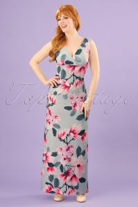 Vintage Chic V Neck Floral Maxi Dress 108 39 24516 20180310 0009W