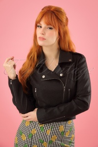 50s Outlaw Foiled Biker Jacket in Black