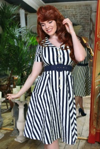 50s Brette Striped Swing Dress in Navy and White