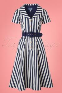 Collectif Brette Stripes Navy White Swing Dress 102 59 22787 20180416 0001w