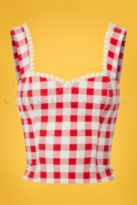 50s Lottie Vintage Gingham Top in Red