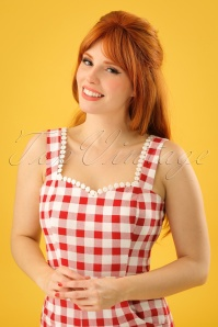 Collectif Clothing Lottie Vintage Gingham Top in Red 22810 20171122 0007w