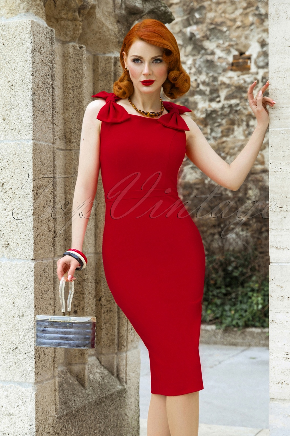 The Charlie Bow Pencil Dress In Lipstick Red