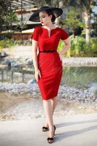 The Jayne Pencil Dress in Lipstick Red