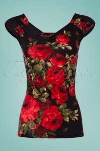 50s Isabel Roses Top in Black and Red