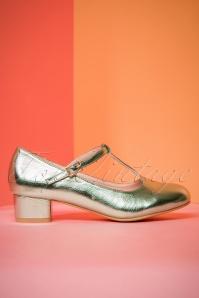 Lulu Hun Chrissie Block Heel Shoes in Green 401 40 23789 19042018 003W