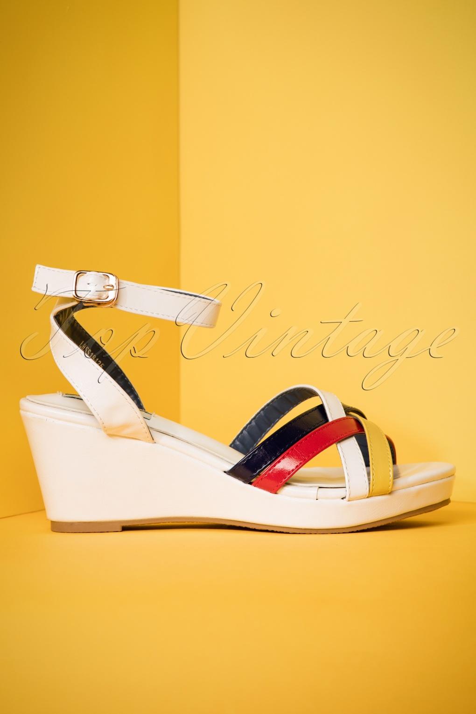 Vintage Sandals | Wedges, Espadrilles – 30s, 40s, 50s, 60s, 70s 60s Nanda Wedge Sandals in White £36.65 AT vintagedancer.com
