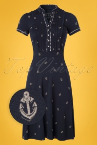 60s Ahoi Summer Dress in Navy