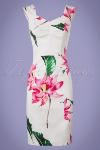 50s Andromeda Floral Pencil Dress in White