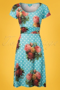 60s Lindy Bouquet Polkadot Dress in Turquoise