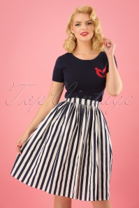 Collectif Clothing 50s Jasmine Striped Swing Skirt in Navy and White