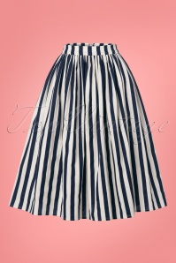 Collectif Clothing Jasmine Striped Swing Skirt in Navy and White 22807 20171122 0003w