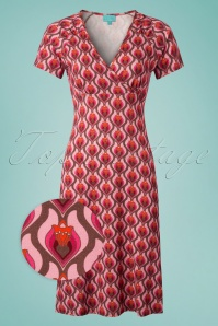 60s Heartbeat Cross Dress in Pink