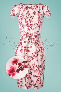 60s Feya Floral Tulip Dress in Ivory