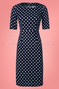60s Vicky Polkadot Pencil Dress in Navy