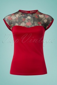 50s Miss Fancy Roses Top in Red