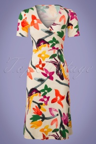 60s Krista Parrot Dress in Cream