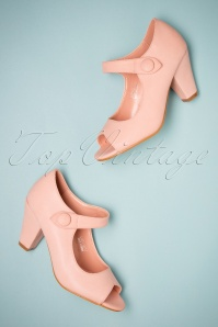50s Sharon Peeptoe Heels in Powder Pink