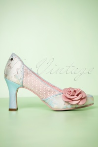 50s Isabella Floral Pumps in Pink and Blue