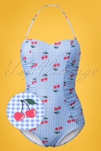 50s Cherry Love Halter Swimsuit in Light Blue