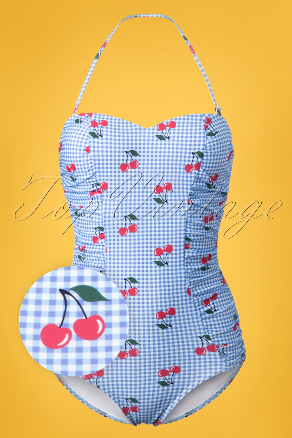 1950s Swimsuits, 50s Bathing Suits, Retro Swimwear 50s Cherry Love Halter Swimsuit in Light Blue £38.94 AT vintagedancer.com