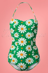 50s Crazy Daisy Halter Swimsuit in Grass Green