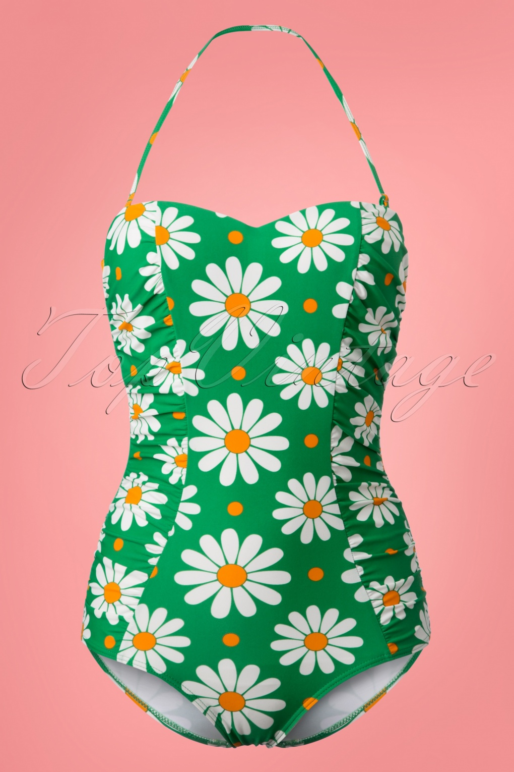 Vintage Bathing Suits | Retro Swimwear | Vintage Swimsuits 50s Crazy Daisy Halter Swimsuit in Grass Green £38.83 AT vintagedancer.com