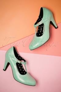 Lulu Hun Brittany T bar Heel Shoes in Mint 401 40 23770 19042018 014W