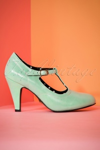 Lulu Hun Brittany T bar Heel Shoes in Mint 401 40 23770 19042018 009W