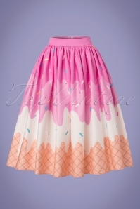 Collectif Clothing Jasmine Ice Cream Swing Skirt in Pink 22803 20171122 0002W