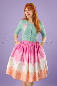 50s Jasmine Ice Cream Swing Skirt in Pink